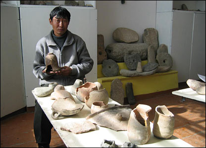 Kuban Imanaliev with the artefacts he has retrieved