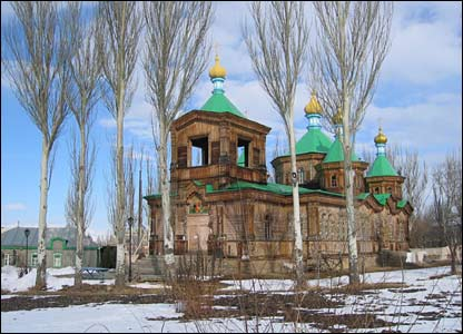 The wooden Russian Orthodox church in Karakol