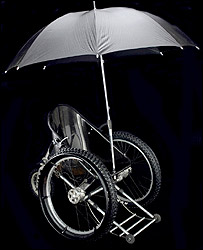 Photo of the Trekinetic K2 wheelchair with its matching umbrella