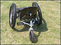 Photo of the Trekinetic K2 wheelchair on grass