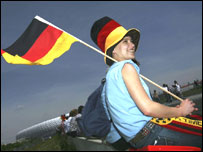 A German fan awaits the start of the 2006 World Cup