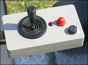Photo of the joystick unit on a Tramper scooter