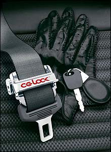Photo of the CG Lock with driving gloves and car keys