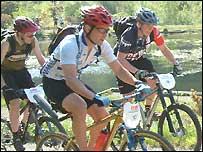 Mountain bikers in the Afan Valley
