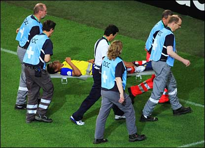 Ecuador captain Ivan Hurtado is stretchered off the pitch