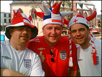 Fans including Mike Marston (centre)
