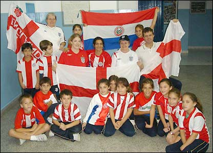 Staff and pupils from St Andrew's school in Asuncion, Paraguay