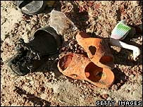 Sandals left at the scene of the beach blast