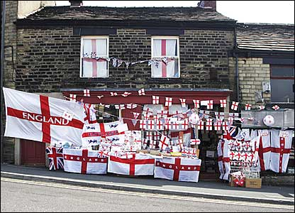 A house in Glossop flies England flags with pride