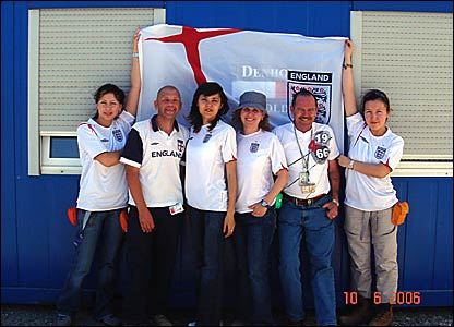 Jon Symons and Terry White are joined by England fans from the Hydrotest department in Khazakhstan