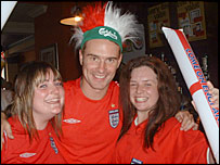England fans (left to right) Jo Huson, Steve Green and Emma Barvin