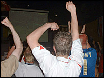 England fans celebrate the winning goal