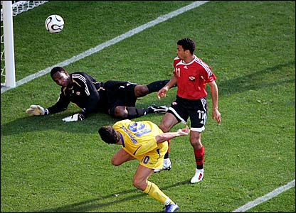 Trinidad & Tobago keeper Shaka Hislop (left) saves Zlatan Ibrahimovic's shot