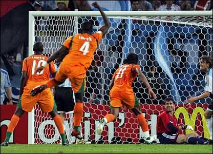 Didier Drogba scores Ivory Coast's goal