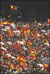 Protesters in Madrid on Saturday