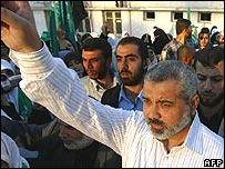 Palestinian Prime Minister Ismail Haniya at a rally against the referendum called by President Abbas