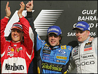 Michael Schumacher, Fernando Alonso and Kimi Raikkonen