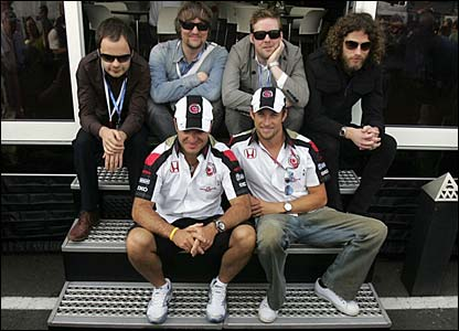 Button and Barrichello hang out with the Kaiser Chiefs