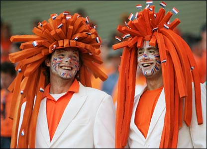Dutch supporters dress up for Holland's opening World Cup match