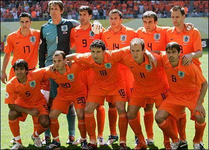 Holland's starting line-up pictured ahead of kick-off