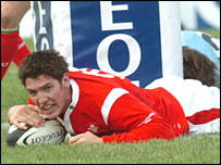 Wales youngster James Hook scored a late try on debut