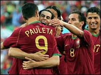 Portugal celebrate Pedro Pauleta's winner