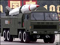 Chinese military truck carrying a Dongfeng long-range missile (file)