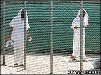 Two detainees at Camp Four, Camp Delta, Guantanamo base