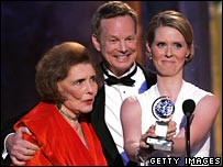 Cynthia Nixon (right) receives her Tony Award