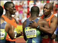 Dwain Chambers (left) with fellow Britons Harry Aikines Aryeetey and Marlon Devonish