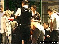 A scene outside a nightclub in Bath