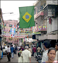 Flags and buntings in Kalighat, Calcutta