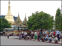 People waiting for the bus near Sule Pagoda, Rangoon
