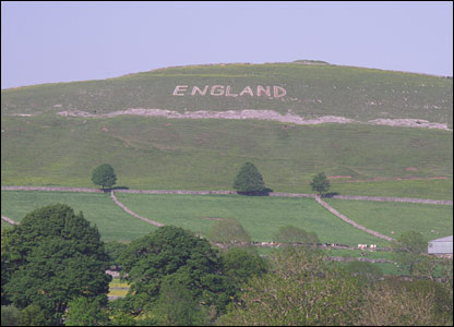'England' is seen from far and wide on Chelmorton Low