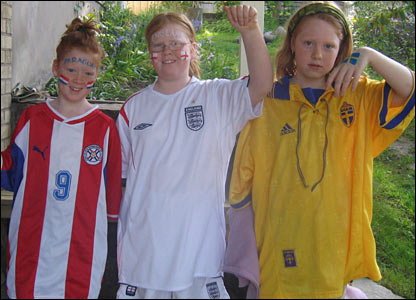 The Persson sisters in Paraguay, England and Sweden colours