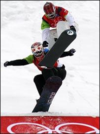 Tanja Frieden wins the women snowboard-cross in 2006