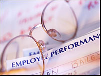 Glasses on employee performance documents