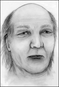Artist's impression of a man whose body was washed up on an Islay beach