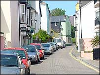 Cars parked in Tenby walled town