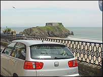 Car in Tenby walled town area