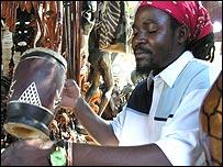 Market stall holder Bright Sabata