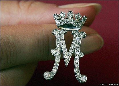 Monogram M brooch