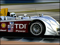 Allan McNish on hi way to victory at Sebring this year in the Audi R10TDI, the car with which the team will attempt to win Le Mans with a diesel engine for the first time in history
