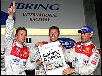 Allan McNish, Tom Kristensen and Rinaldo Capello on the podium