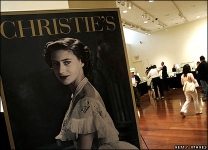 Christie's sign for the sale of Princess Margaret's items