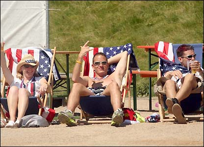 American fans catch some rays before the game