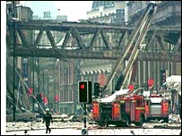 Aftermath of bombing on Cross Street