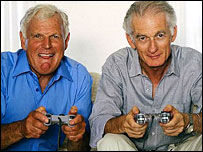 Older men playing computer game
