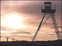 Derelict watchtower at Czivov on the Czech/Austrian border