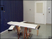 Execution gurney at the Greensville Correctional Center in Jarratt, Virginia